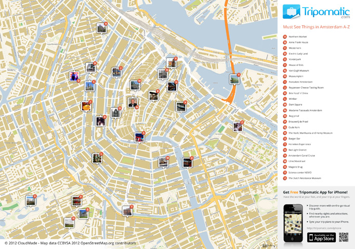 Amsterdam Tourist Map in PDF – Tourist Map Of Amsterdam