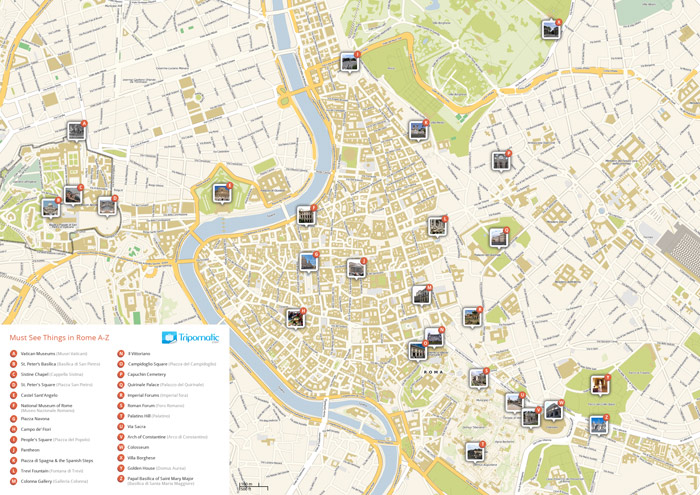 Download a Rome tourist map in PDF showing top sights and attractions.